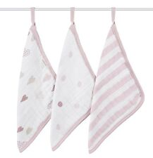 Aden and Anais Heart Breaker Washcloths 3 pack New