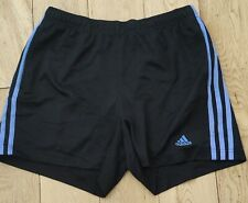Adidas Woman's Black Shorts with light Blue Stripe - Size Small