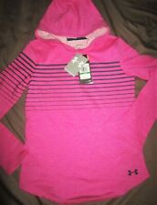 Under Armour Girls Large Loose Fit Cold Gear Pink & Gray Pullover Hoodie; New