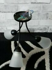 Black Metal  3 globe Chandelier  Light  Fitting . Globes face down