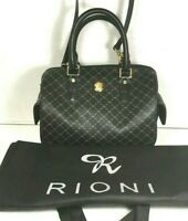 Rioni Black Canvas Print Satchel Shoulder Bag with Dust Bag– Made In Italy