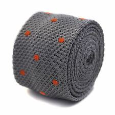 Frederick Thomas grey knitted tie with orange spots FT2052