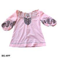 Chelsea & Violet Pink BohoTop Long Sleeve Festival Romantic Bell Sleeve XS