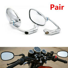 2X Motorcycle Silver L-bar Retro Oval Rearview Side Mirror For Cafe Racer Custom