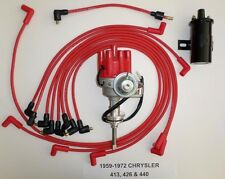 CHRYSLER 440 59-72 RED Small Female HEI Distributor+Black Coil+Spark Plug Wires