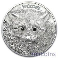 Vanuatu 2013 Raccoon Black Onyx Eyes 50 Vatu 1 Oz Pure Silver Coin High Relief
