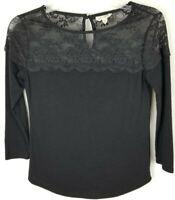 Maison Jules Womens Size XS Black Lace 3/4 Sleeve Blouse Shirt Top
