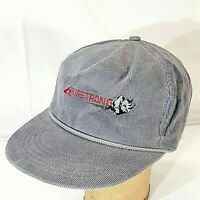 Armstrong Snapback Hat VTG Corduroy Cap Gray Rhino USA Made Adult One Size Cordy