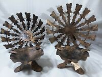 4-pc Vintage Action handcrafted Spain Metal bowls& ashtrays black/bronze  gothic