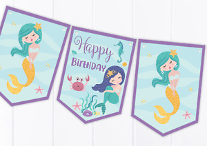 Mermaid Happy Birthday Bunting  - Children's Party Decoration Banner / Garland