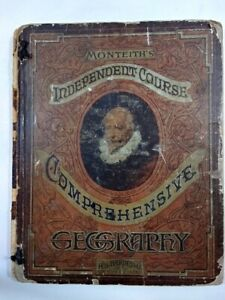 1882 Comprehensive Geography Monteith Monteith's Illinois Ed Maps Atlas Science