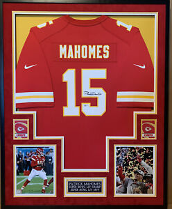 Patrick Mahomes Autographed and Framed Nike Jersey Beckett COA Autograph Smudged