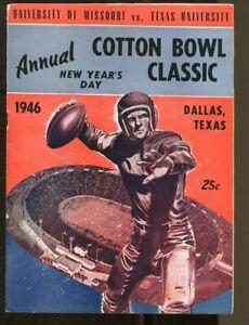 1946 Cotton Bowl Program Texas Longhorns v Missouri Tigers 1/1 Bobby Layne Ex