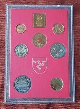 More details for 1980 isle of man 7 coins in diamond finish cased set 1/2p to 50 pence with coa 2