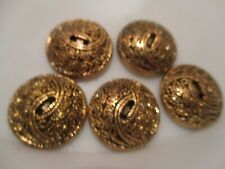 LOT OF 5 BRONZE COLOR 1 INCH 2 HOLE BUTTONS, NEW