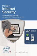 McAfee Internet Security NEW 2018 1 USER Multi device inc Antivirus UK Iphone