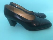 Black Fratelli Rossetti Block Heel Pumps Size 38 Made In Italy