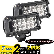 2X 7INCH 36W Flood CREE LED WORK LIGHT BAR OFFROAD LAMP 4WD BOAT ATV SUV Jeep