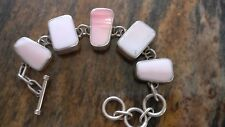 Vintage Large 925 Pink Conch Shell TAXCO Silver Toggle Handmade Bracelet