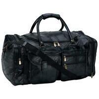 "GENUINE LEATHER 25"" Carry-On Duffle Bag Black Overnight Luggage Suitcase Tote"