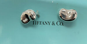 ** Tiffany & Co 925 Sterling Silver Elsa Peretti LARGE Bean Clip On Earrings