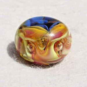 MAELSTROM Handmade Art Glass Focal Bead Flaming Fools Lampwork Art Glass SRA