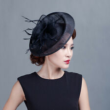 Hot Sinamay Big Flower Fascinator Hat Cocktail Headband Hair Clip Wedding Party