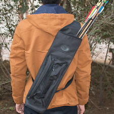 Archery Canvas Back Hunting Arrows Quiver Shoulder Bag Holder Pocket Strap Belt