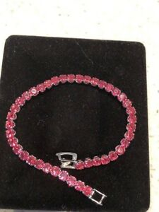 AAA 12ct Round Ruby Tennis Bracelet 18k White Gold Plated Gemstone Jewelry 7.25""