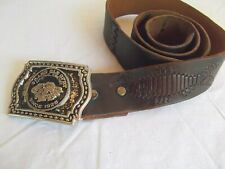 vtg 1970s brn leather belt Grand Opry silver buckle inlay laced Christian fish