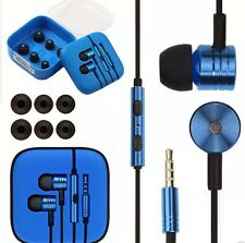 IN EAR NOISE ISOLATING METAL EARPHONE HEADSET BRAIDED CABLE MIC+REMOTE + 2 BUDS