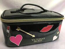 NWT VICTORIA'S SECRET SUPERMODEL HEARTS & LIPS BLACK GLOSSY MAKEUP BAG SM CASE