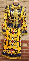 ELLESAY BLUE AND YELLOW BAROQUE PLEATED A LINE LONG SLEEVE A LINE MIDI DRESS 12