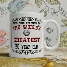 70th Birthday Gift Mug Happy 70 Present Idea Men Women Ladies Mum Dad Him Her
