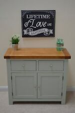 Camborne Painted Oak Small Sideboard / Compact Storage in Sea Green / Sage