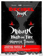 "ABBATH / HIGH ON FIRE ""DECIBEL MAGAZINE TOUR 2016"" PORTLAND CONCERT POSTER-Metal"