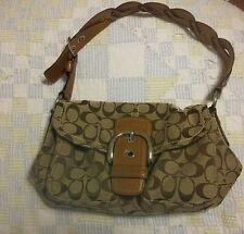 EUC Coach 11862 Brown Tan Soho Signature Handbag Purse Braided Handle CLEAN!
