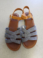 TOMS blue cloth and brown suede, gladiator sandals Women's 8.5
