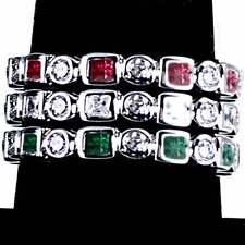 3-RING COMBO #4_GEOMETRIC CZ ETERNITY BAND RINGS_SIZE-9__925 STERLING SILVER