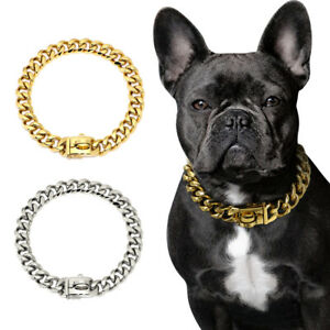 Gold Chain Dog Collar Stainless Steel Strong Choker Training Luxury Show Bulldog