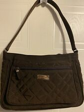 VERA BRADLEY BROWN FABRIC QUILTED SHOULDER TOTE BAG PURSE