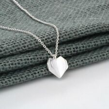 Origami Heart Necklace Love Beautiful Sterling Silver chain BRAND NEW