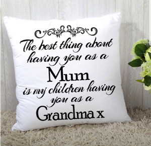 """LOVELY PERSONALISED MOTHERS DAY THE BEST THING CUSHION MUM GRANDMA 16""""x16"""""""