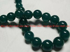 Natural 6/8/10/12/14mm Dark Green Jade Gemstone Round Loose Beads 15'' Strand