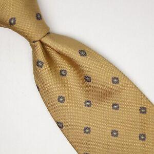 Ermenegildo Zegna Mens Silk Necktie Golden Wheat Gray Diamond Check Weave Italy