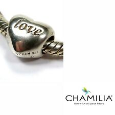 Genuine Chamilia sterling silver 925 Love heart bracelet charm bead