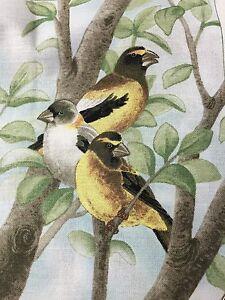 "Fabric Bird Quilt Square 4.75"" x 6"" Cotton 3 Yellow Birds  ELIZABETH Qty 1"