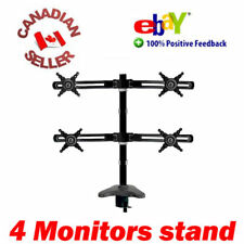 FOUR QUAD LCD DESK MOUNT Stand 4 MONITORS VESA 75/100