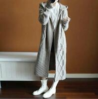 Cardigan Womens Knitted Hoodie Long Sweater Coat Cashmere Outwear Overcoat Ske15