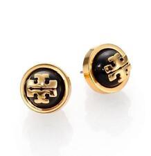 Tory Burch 11145528 Women's Melodie Logo Black Shiny Brass Stud Earrings NEW!